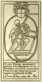 Cy gist Pierre de Goubert escuier Sr du Bourneuf et du Pommeret en partie Gentilhome Piqueur des toiles de chasses tantes et pavillons du Roy