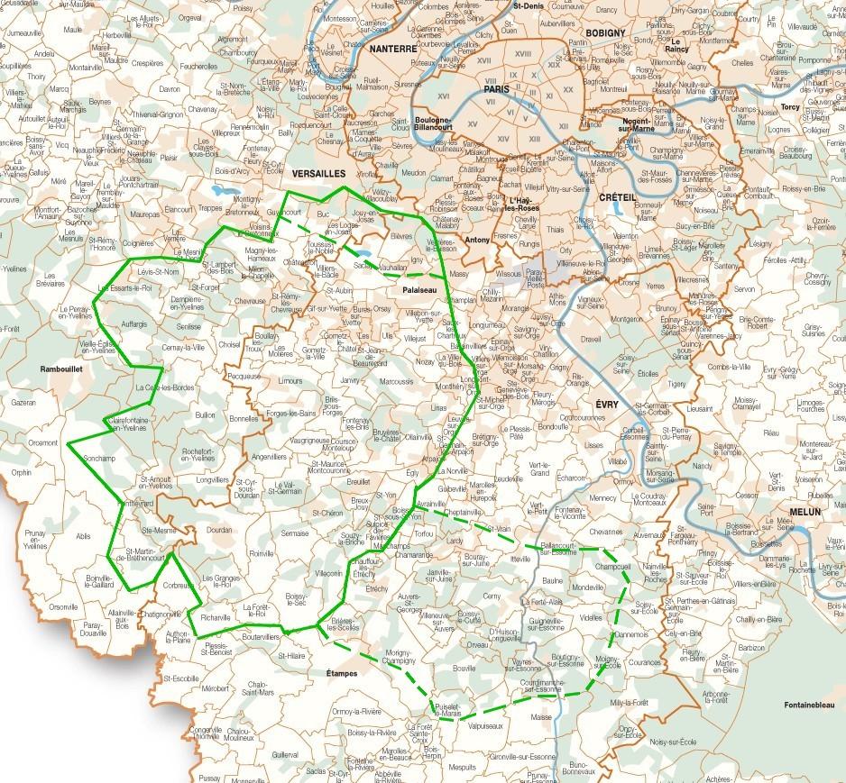 Le Hurepoix paysager, ou Hurepoix géologique, intégrant la haute Bièvre au nord. Le secteur Juine et Essonne y est assimilable, mais relève culturellement plutôt du Gâtinais
